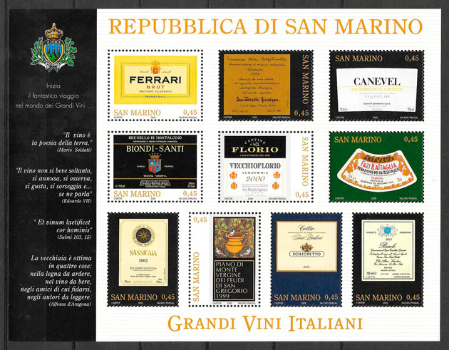 filatelia colección frutas San Marino 2005