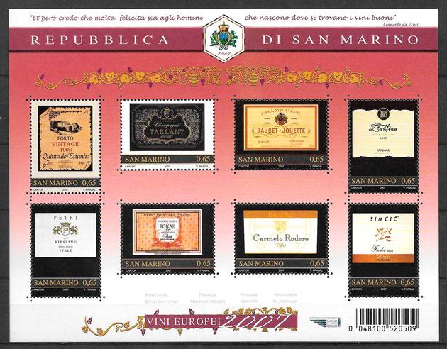 filatelia colección frutas San Marino 2007