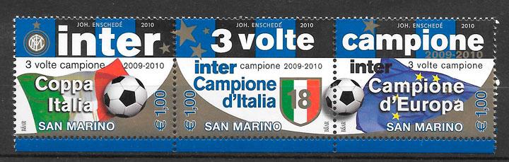 colección sellos fútbol San Marino 2010