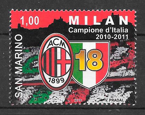 filatelia colección fútbol San Marino 2011