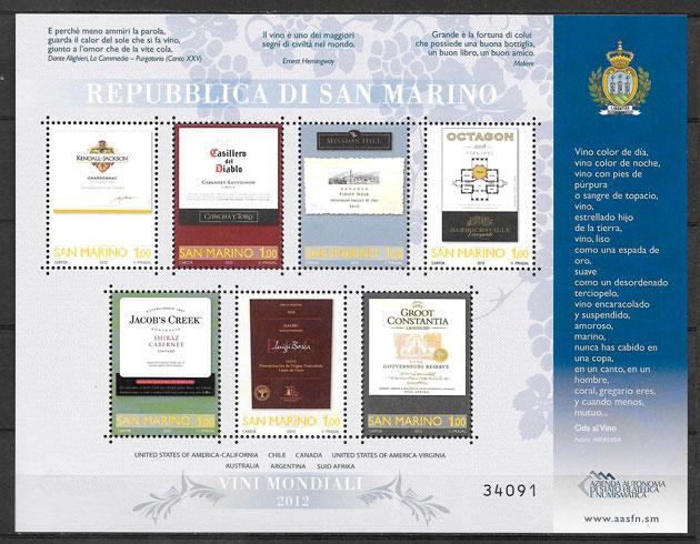 filatelia colección frutas San Marino 2012