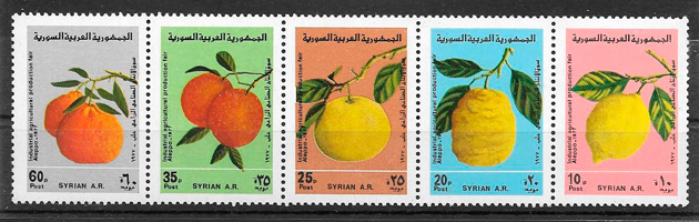 filatelia colección frutas Siria 1977
