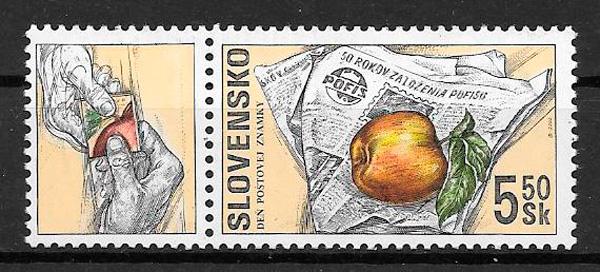 filatelia colección frutas Eslovaquia 2000