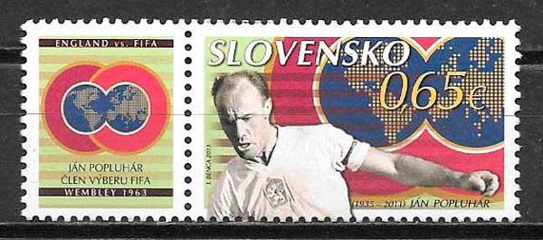 colección sellos fútbol Eslovaquia 2013