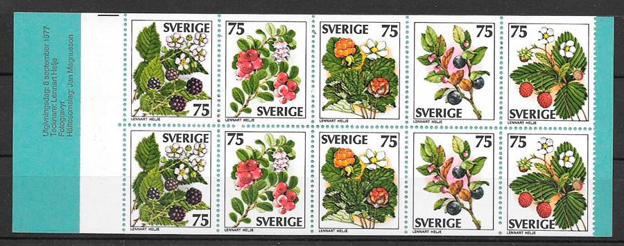 filatelia frutas Suecia 1977