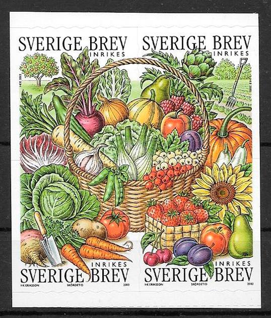 colección sellos frutas Suecia 2003