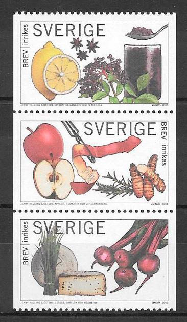 colección sellos frutas Suecia 2005
