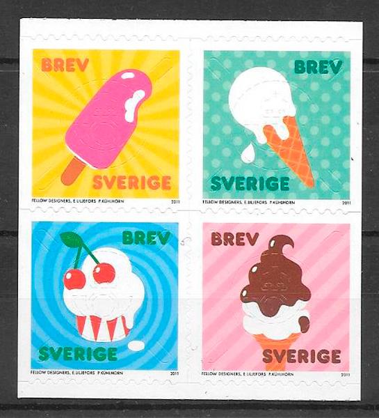 colección sellos frutas Suecia 2011