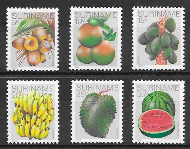 filatelia frutas Surinam 1978