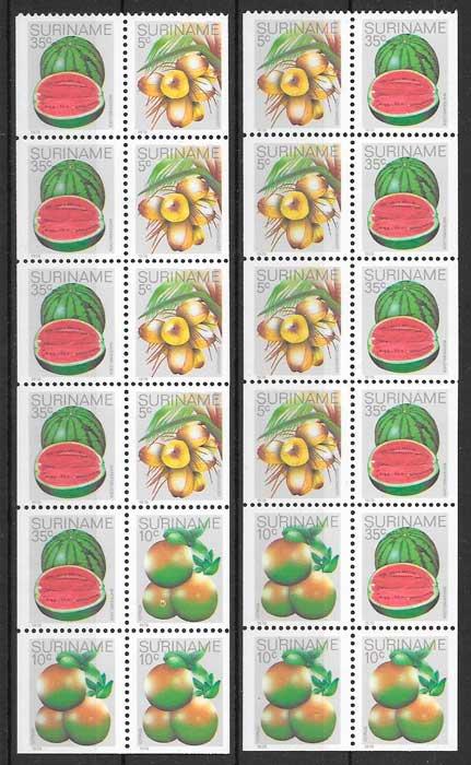 filatelia colección frutas Surinam 1980