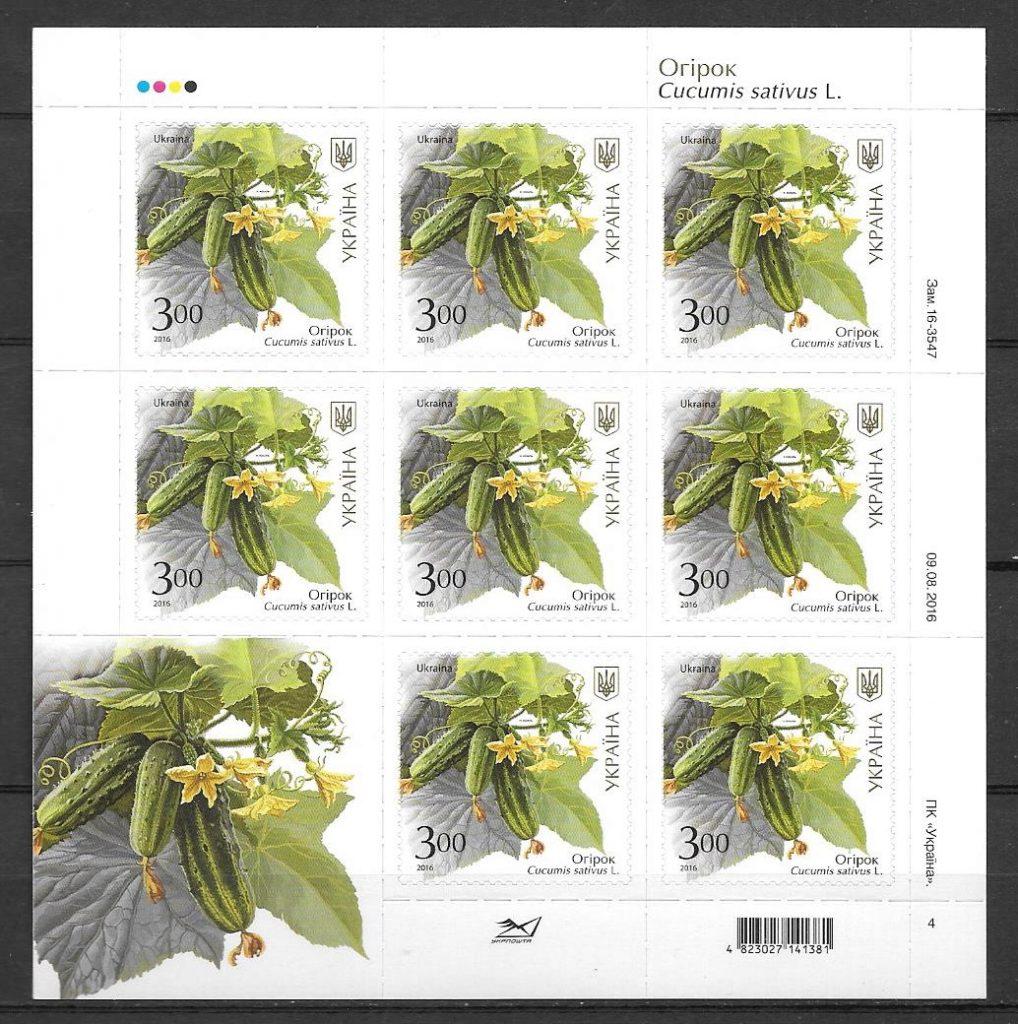 colección sellos frutas Ucrania 2016