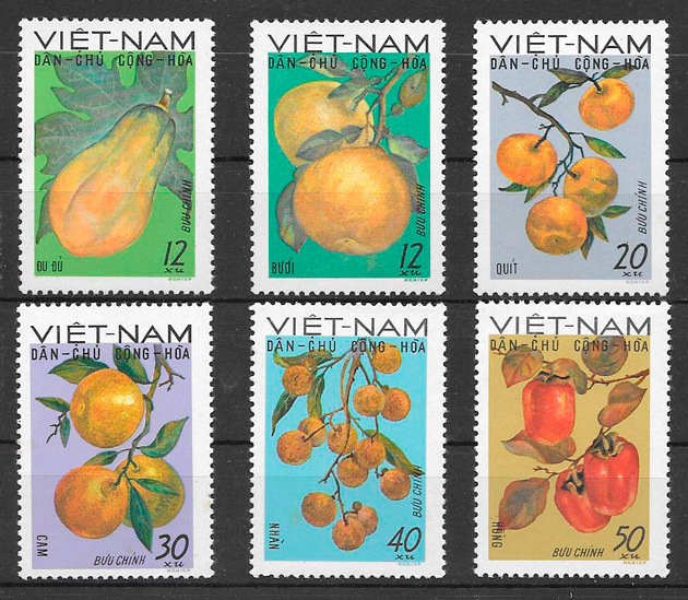 sellos frutas Viet Nam 1969