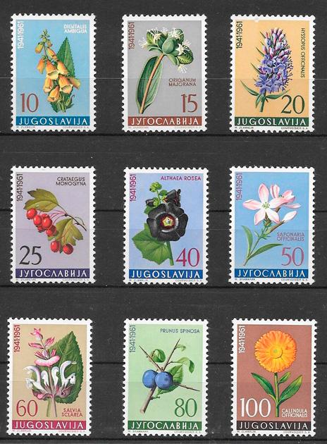 sellos frutas Yugoslavia 1961
