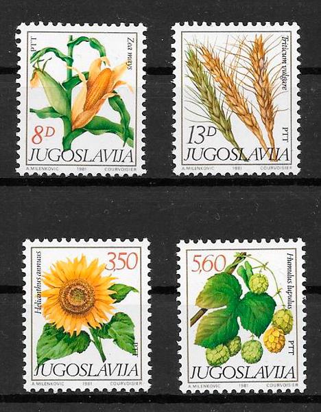 filatelia colección frutas Yugoslavia 1981