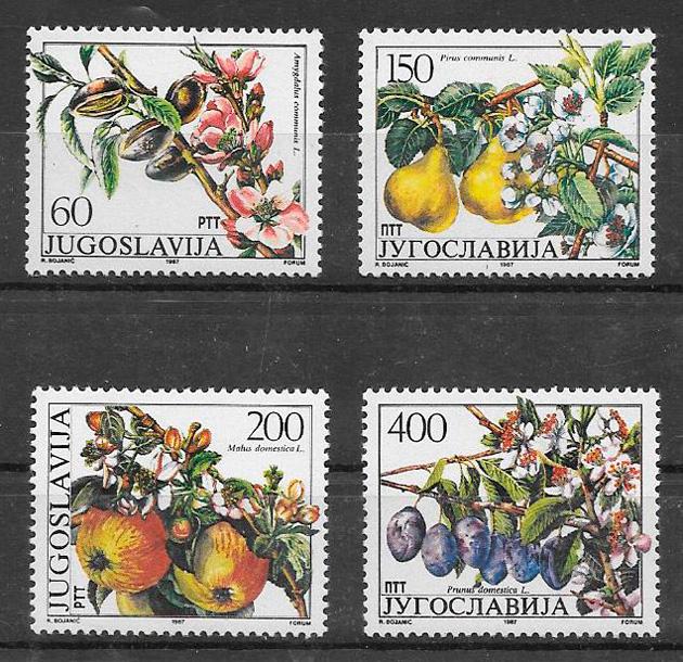 sellos frutas Yugoslavia 1987