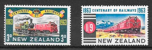 colección sellos trenes Nueva Zelanda