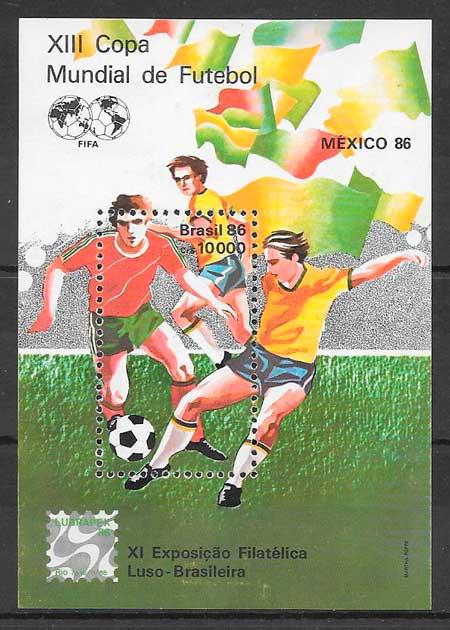 colección sellos fútbol Brasil 1986