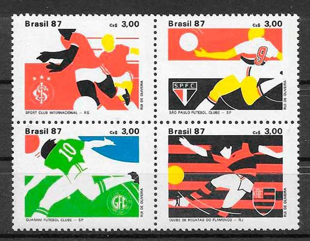 colección sellos fútbol Brasil 1987