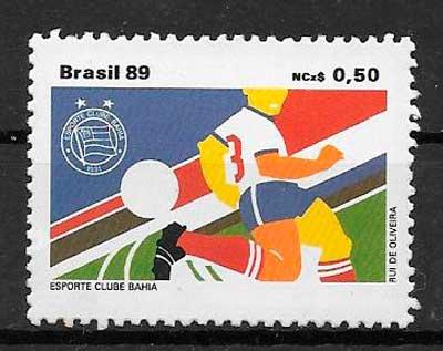 filatelia fútbol Brasil 1989