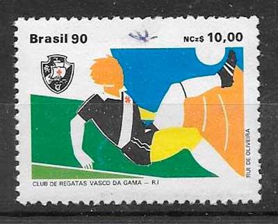 filatelia colección fútbol Brasil 1990