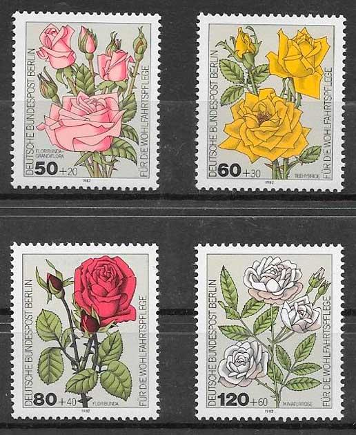 sellos rosas Alemania Berlin 1982