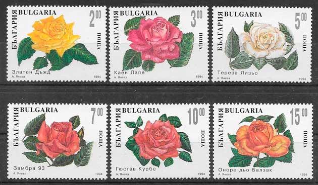 colección sellos rosas Bulgaria 1994