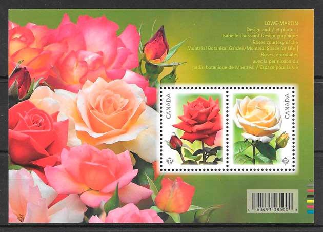 coleccion sellos rosas Canada 2014