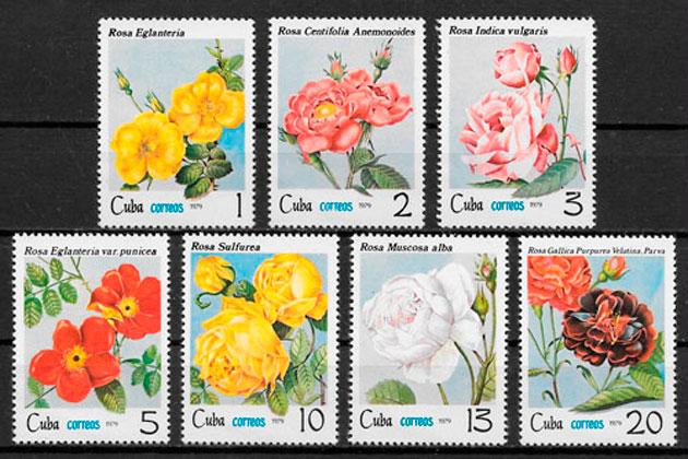 filatelia colección rosas 1979 Cuba
