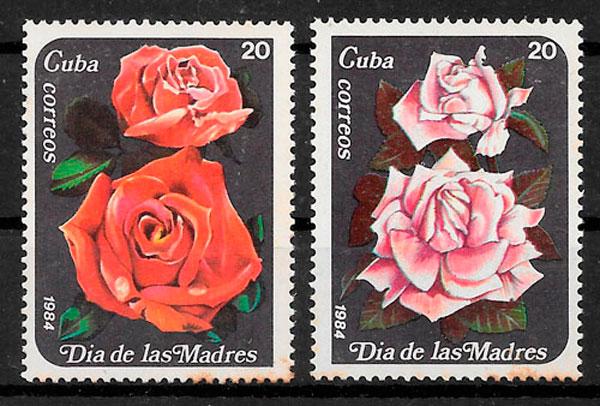 filatelia colección rosas 1984 Cuba