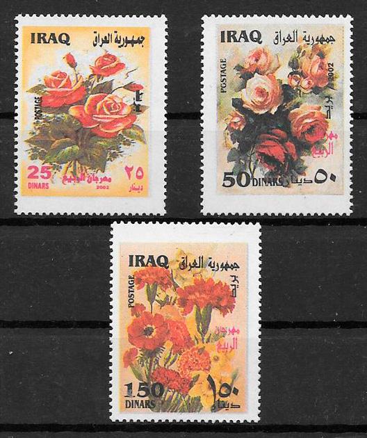 filatelia rosas Iraq 2002