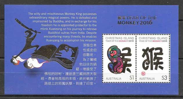 sellos año lunar Crismas Island 2016