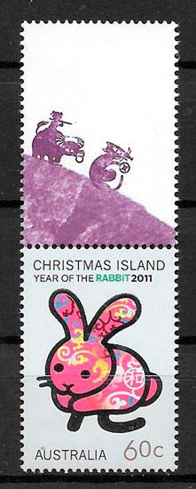 filletelia colección año lunar 2011 Chrismas-Island