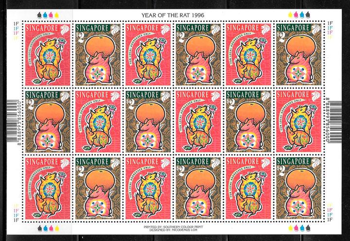 sellos ano lunar Sigapur 1996