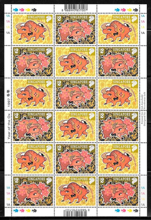 sellos ano lunar Singapur 1997