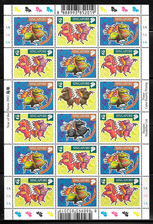 filatelia coleccion ano lunar Singapur 2002