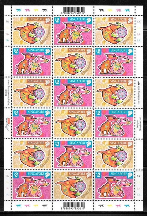sellos ano lunar Singapur 2006