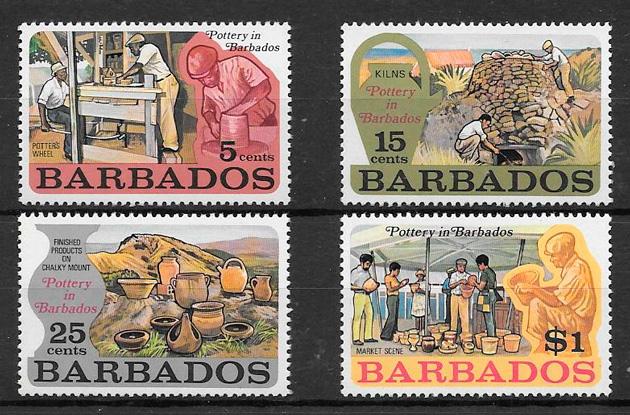 colección sellos arte Barbados 1973