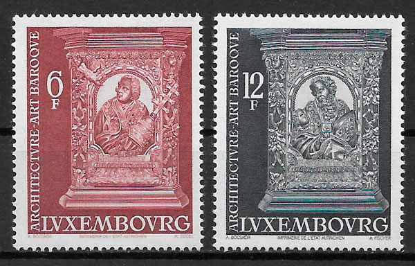 colección sellos arquitectura Luxemburgo 1977