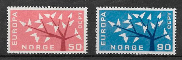 sellos tema Europa Noruega 1962