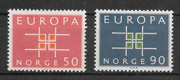 sellos tema Europa Noruega 1963