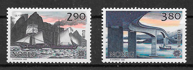 filatelia Europa Noruega 1988