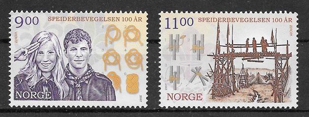 filatelia colección Europa Noruega 2007