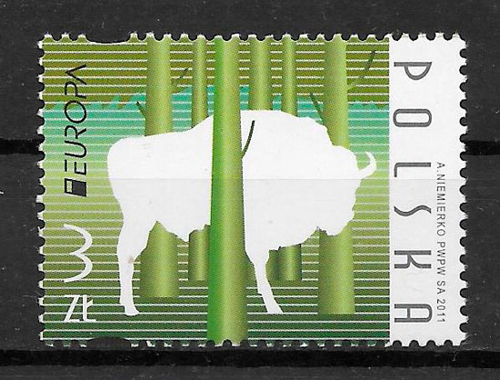 sellos tema Europa Polonia 2011