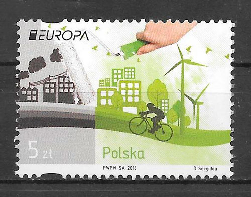 filatelia tema Europa Polonia 2016