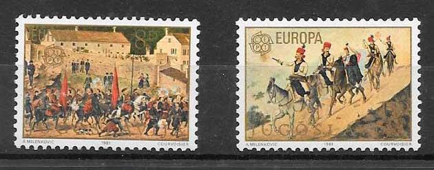 colección selllos Tema Europa Yugoslavia 1981