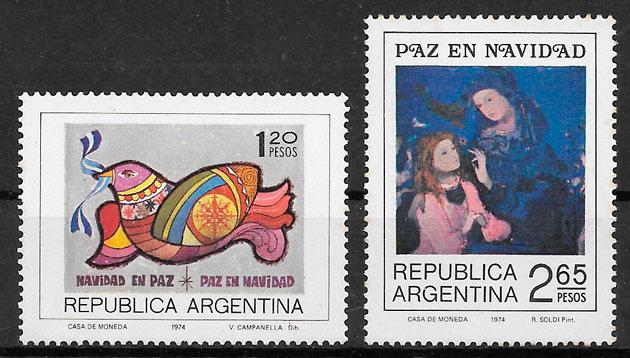 colección sellos navidad Argentina 1974