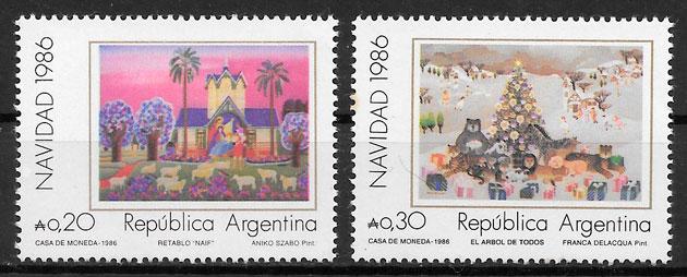 colección sellos navidad Argentina 1986