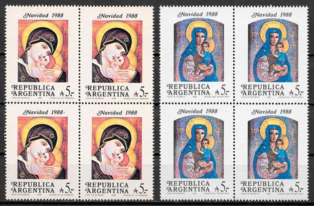 sellos navidad Argentina 1988