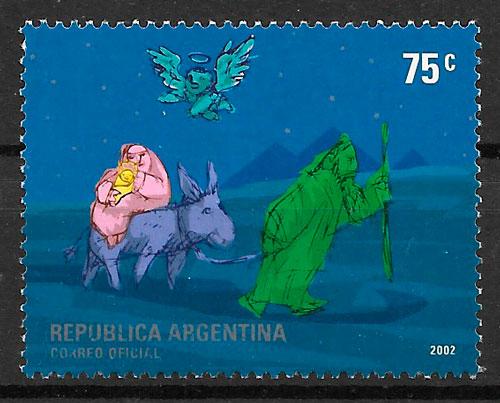 colección sellos navidad Argentina 2002