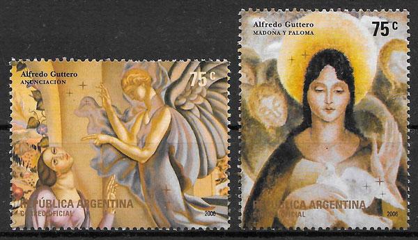 sellos colección navidad Argentina 2006